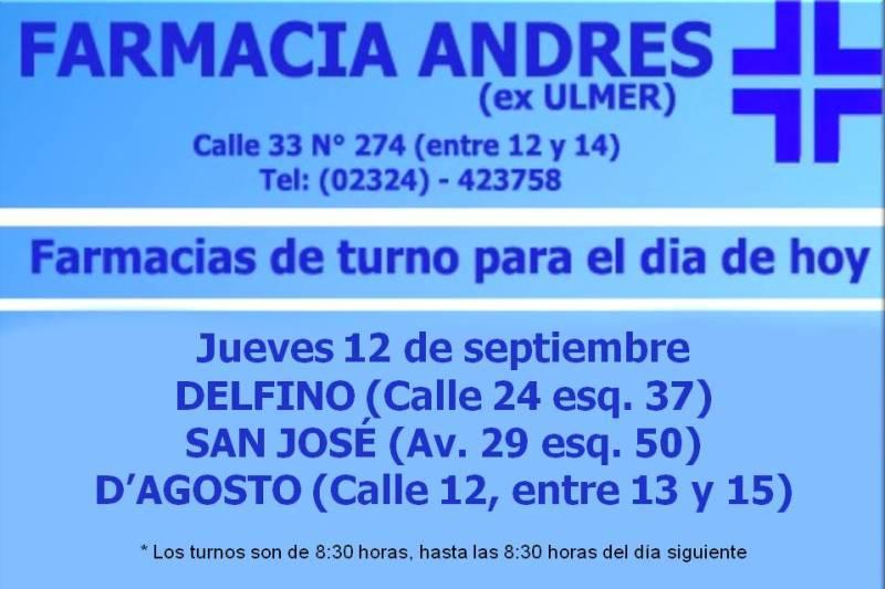 Farmacias de Turno día jueves 12 de septiembre