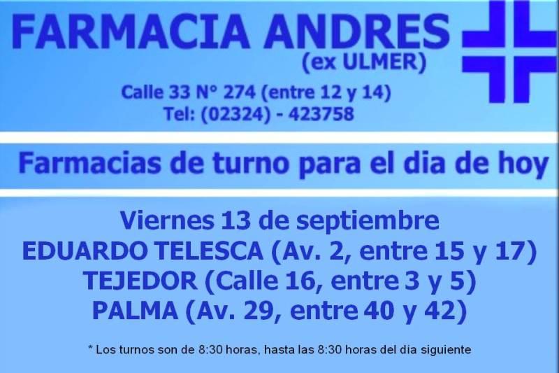 Farmacias de Tuno día viernes 13 de septiembre