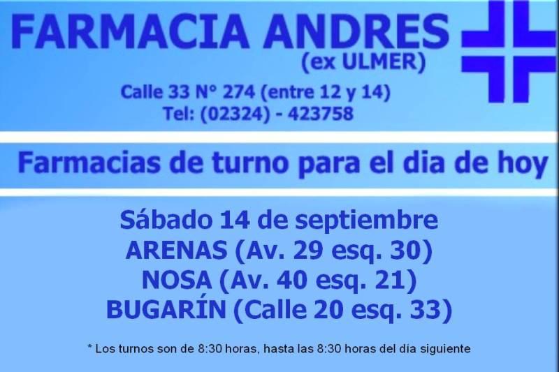 Farmacias de turno día sábado 14 de septiembre