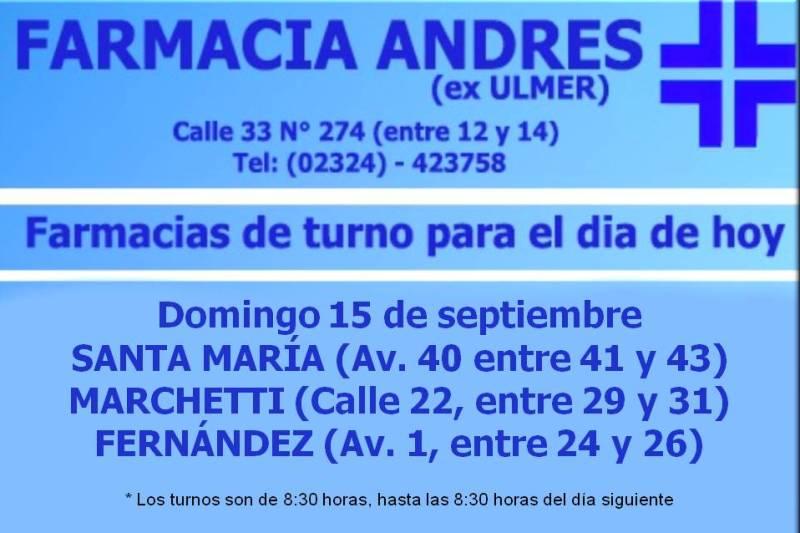 Farmacias de turno día domingo 15 de septiembre