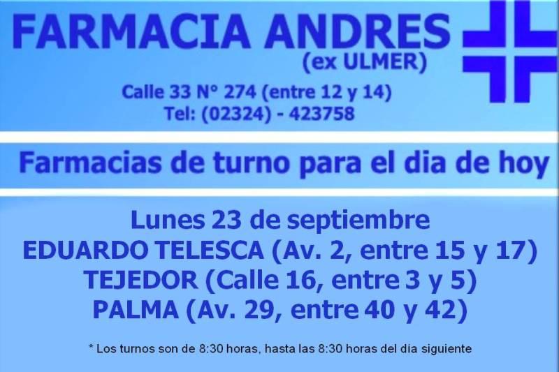 Farmacias de turno día lunes 23 de septiembre