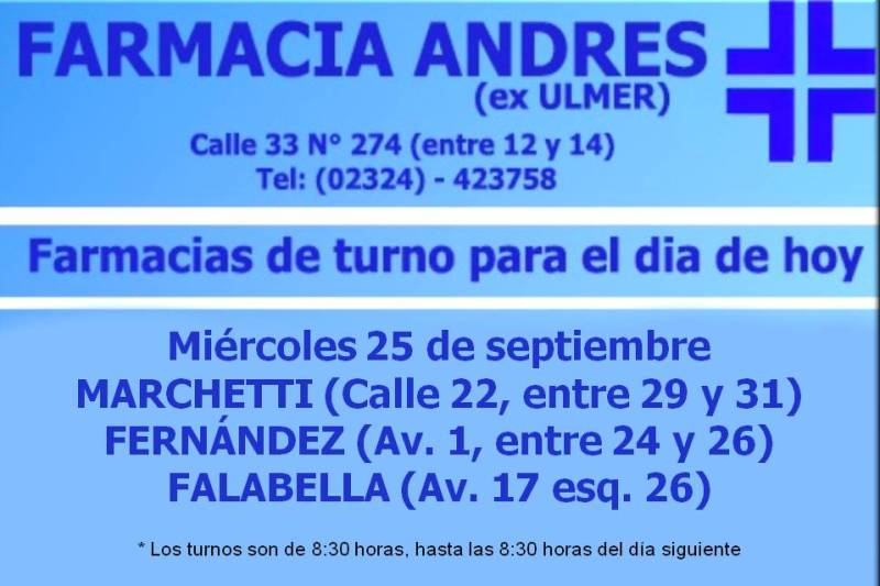 Farmacias de turno día miércoles 25 de septiembre