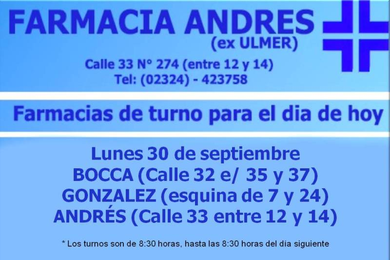 Farmacias de turno día lunes 30 de septiembre