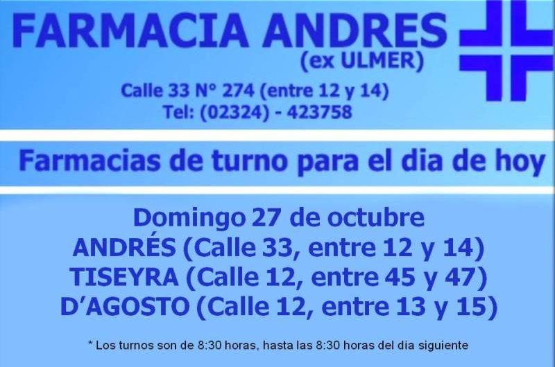 Farmacias de turno día domingo 27  de octubre