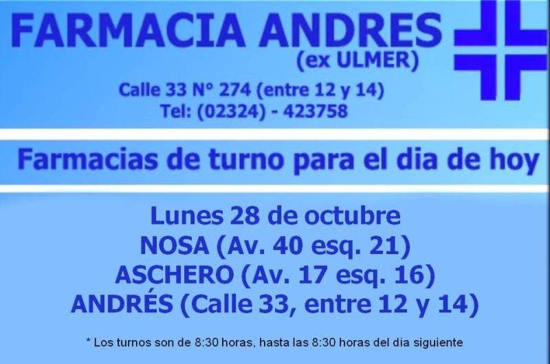Farmacias de turno día lunes 28 de octubre