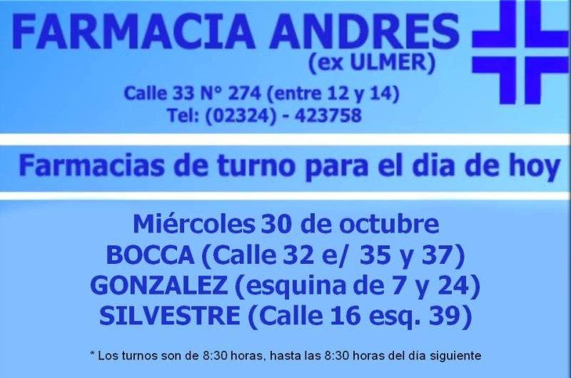 Farmacias de turno día miércoles 30 de octubre
